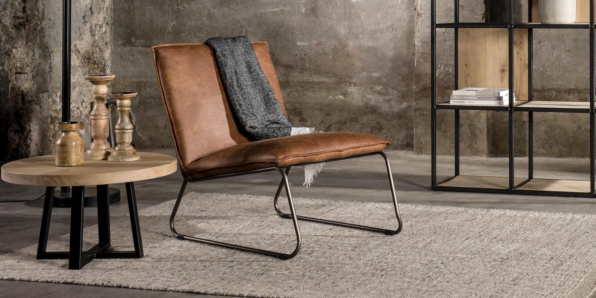 fauteuil cognac industrieel